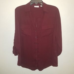 NY & Co. Sheer Button Down Blouse in Maroon